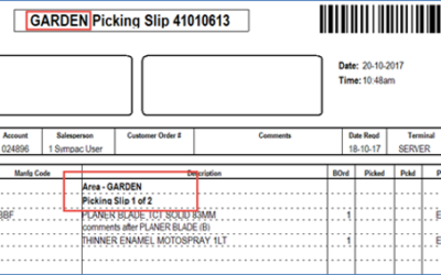 SYM-PAC feature : Picking Slip by Bin Area