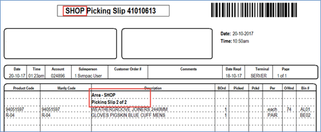 SYM-PAC feature: Picking by Bin Slip Area