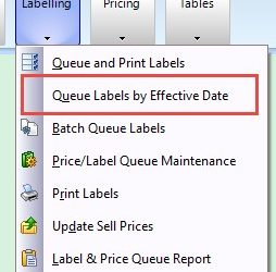 SYM-PAC feature : Label Printing by Effective Date