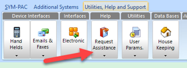 How to : Request assistance from inside the SYM-PAC system