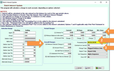 SYM-PAC how to : Use Batch Interest Update to calculate Debtor Interest Charges