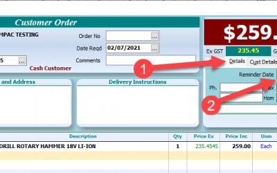 Customer Orders – Reminder Dates